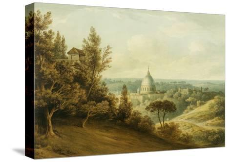 St Peter's from the Villa Milleni Near Rome-John `Warwick' Smith-Stretched Canvas Print