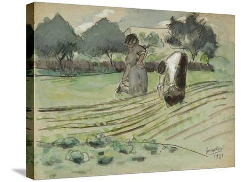 Transplanting and Watering-Julio González-Stretched Canvas Print