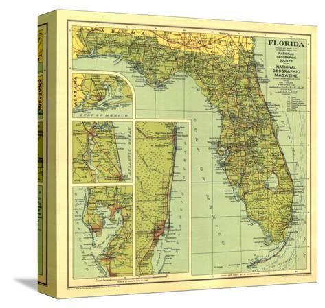 1930 Florida Map-National Geographic Maps-Stretched Canvas Print