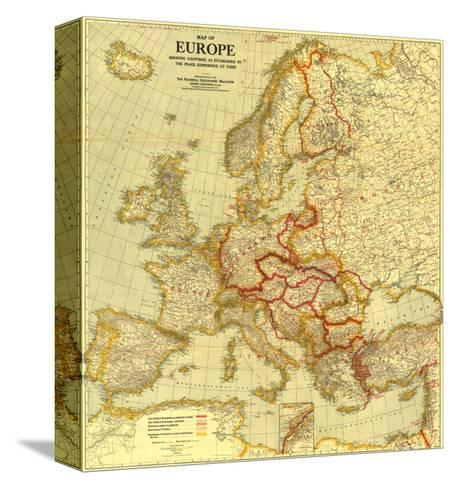 1921 Map of Europe Showing the Countries Established by the Peace Conference of Paris-National Geographic Maps-Stretched Canvas Print