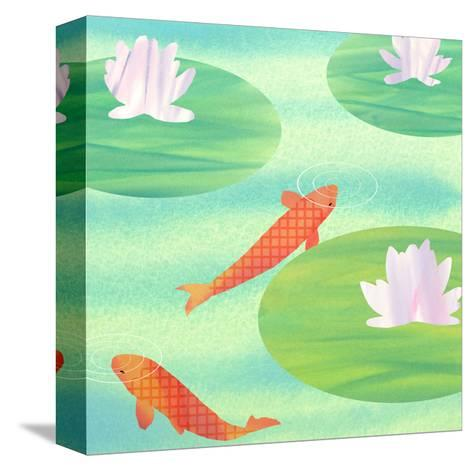 Koi Fish in Pond--Stretched Canvas Print