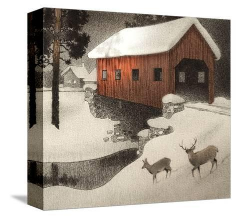 Snow Covered Bridge--Stretched Canvas Print