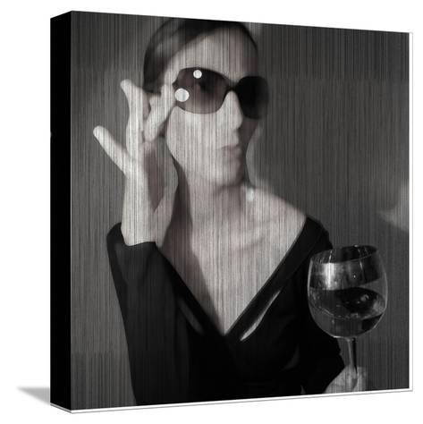 Loren with Wine-NaxArt-Stretched Canvas Print