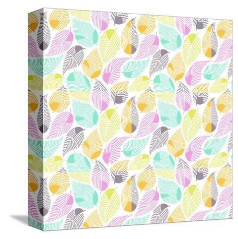 Bright Colored Leaf Pattern--Stretched Canvas Print