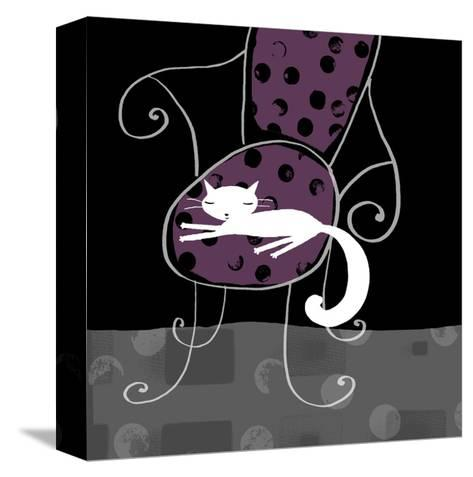 Cat Lying on Purple Chair--Stretched Canvas Print