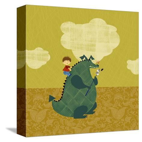Child on Fire Breathing Dragon--Stretched Canvas Print