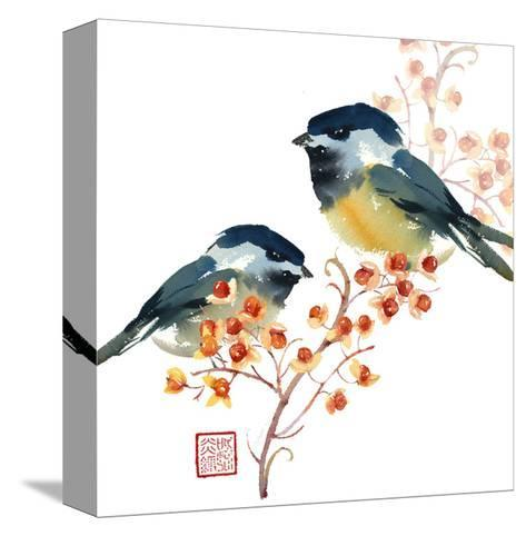 Two Birds on a Branch--Stretched Canvas Print