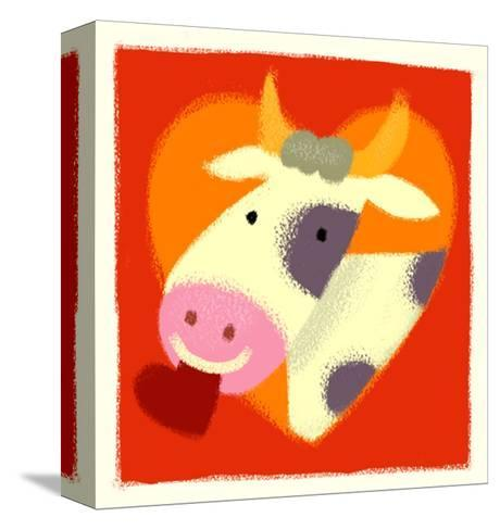 Cow with Heart--Stretched Canvas Print