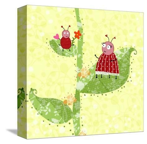Two Ladybugs Perched on a Plant--Stretched Canvas Print