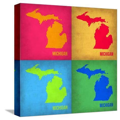 Michigan Pop Art Map 1-NaxArt-Stretched Canvas Print
