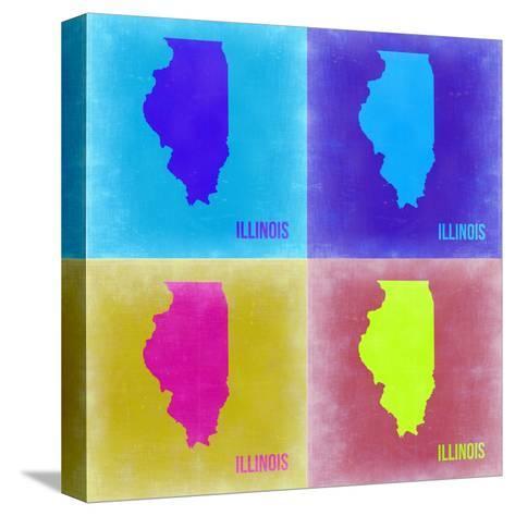 Illinois Pop Art Map 2-NaxArt-Stretched Canvas Print