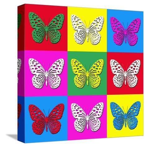 Pop Art Illustration with Colorful Butterflies-anasztazia-Stretched Canvas Print