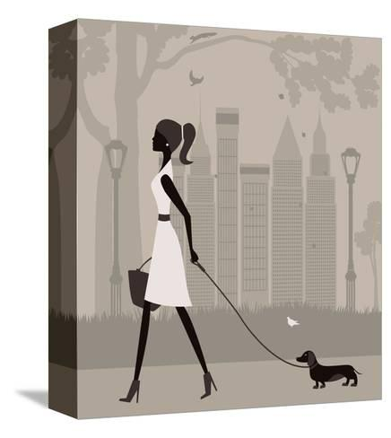 Woman Walking with a Dog. Vector-Ladoga-Stretched Canvas Print