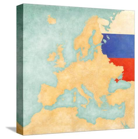 Map of Europe - Russia (Vintage Series)-Tindo-Stretched Canvas Print