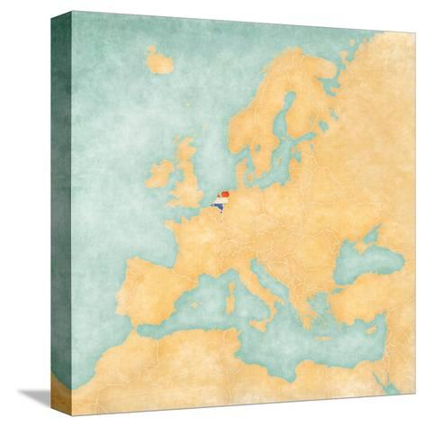 Map of Europe - Netherlands (Vintage Series)-Tindo-Stretched Canvas Print