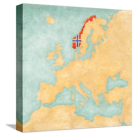 Map of Europe - Norway (Vintage Series)-Tindo-Stretched Canvas Print