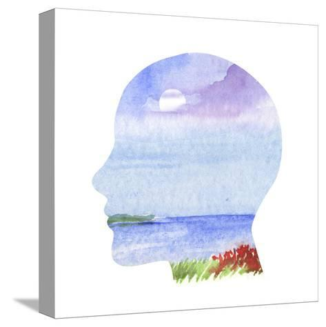 Human Profile with Sea Landscape- carlacastagno-Stretched Canvas Print