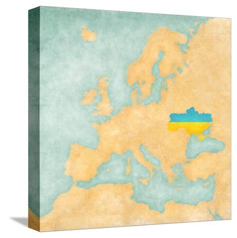 Map of Europe - Ukraine (Vintage Series)-Tindo-Stretched Canvas Print