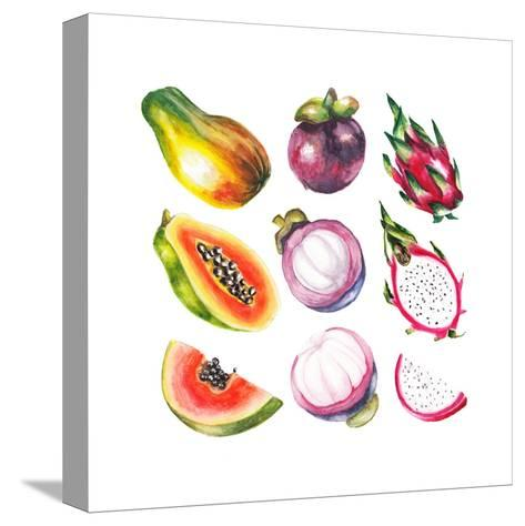 Watercolor Exotic Fruits Set-lenavetka87-Stretched Canvas Print