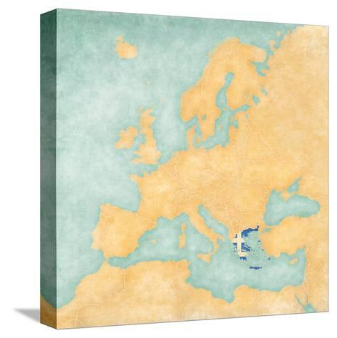 Map of Europe - Greece (Vintage Series)-Tindo-Stretched Canvas Print
