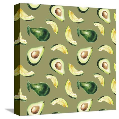 Watercolor Avocado Pattern-lenavetka87-Stretched Canvas Print