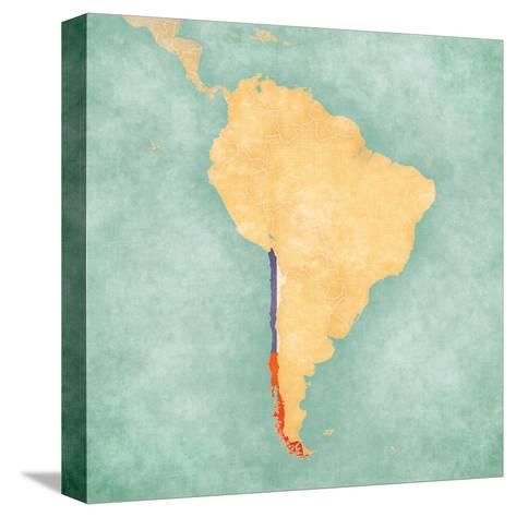 Map of South America - Chile (Vintage Series)-Tindo-Stretched Canvas Print