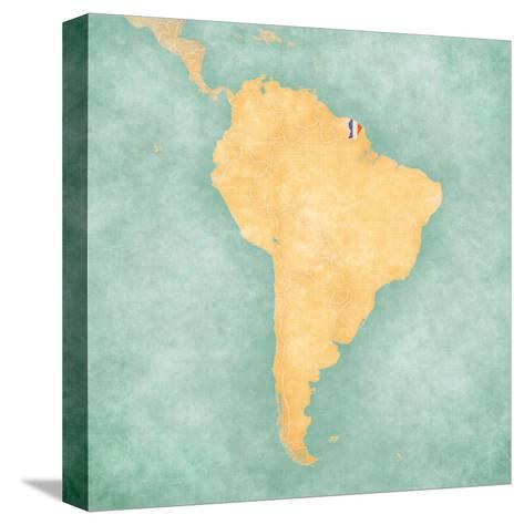 Map of South America - French Guiana (Vintage Series)-Tindo-Stretched Canvas Print