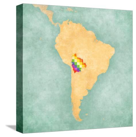 Map of South America - Bolivia (Vintage Series)-Tindo-Stretched Canvas Print