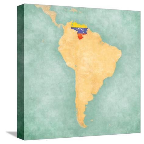 Map of South America - Venezuela (Vintage Series)-Tindo-Stretched Canvas Print