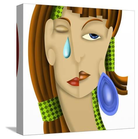 Viso Di Donna Astratto-goccedicolore-Stretched Canvas Print