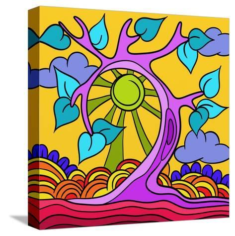 Pink Tree-goccedicolore-Stretched Canvas Print
