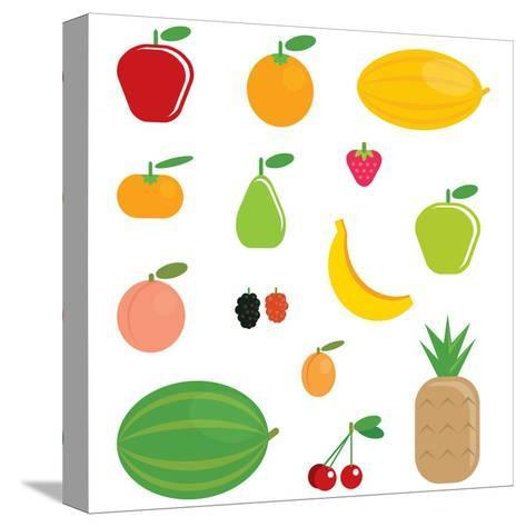 Simple Cartoon Shinny Fruits Collection-Thodoris Tibilis-Stretched Canvas Print