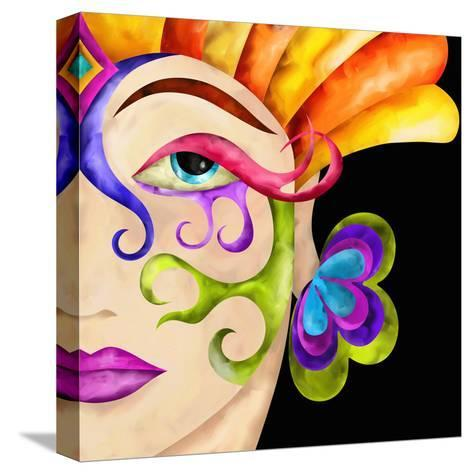 Face of Woman with Carnival Mask-goccedicolore-Stretched Canvas Print