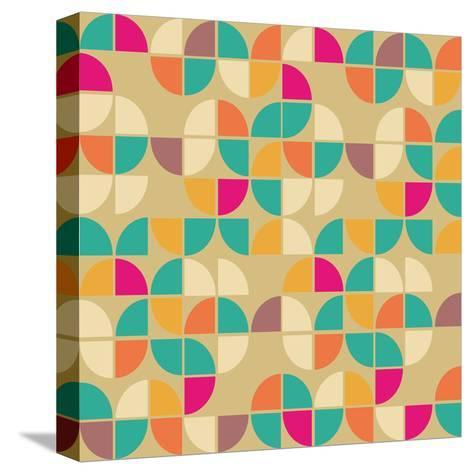 Seamless Pattern in Retro Style. Disco Vintage Background.-Tatsiana Tsyhanova-Stretched Canvas Print