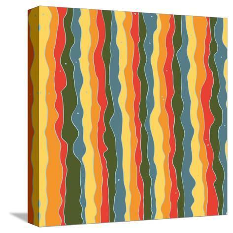 Beautiful Wavy Lines with Dots Pattern-molokot-Stretched Canvas Print