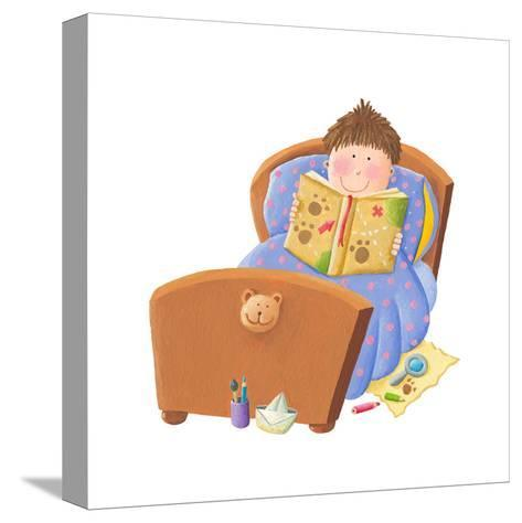 Boy Reading Bed Time Story-andreapetrlik-Stretched Canvas Print