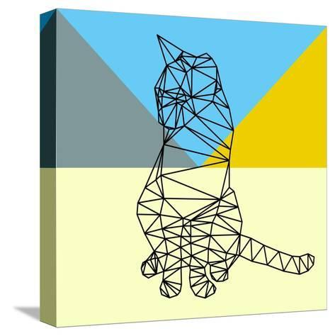 Black Party Cat Polygon-Lisa Kroll-Stretched Canvas Print