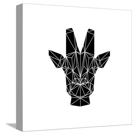 Black Giraffe-Lisa Kroll-Stretched Canvas Print