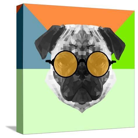 Party Pug in Yellow Glasses-Lisa Kroll-Stretched Canvas Print