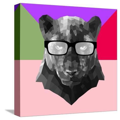 Party Panther in Glasses-Lisa Kroll-Stretched Canvas Print