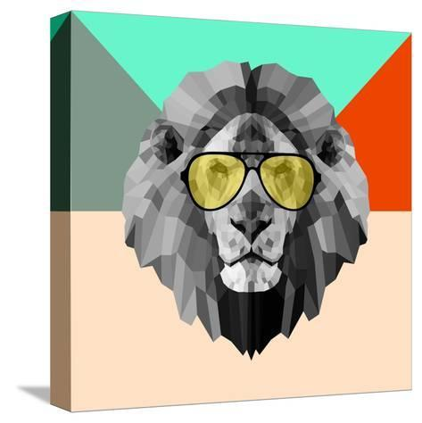 Party Lion in Glasses-Lisa Kroll-Stretched Canvas Print