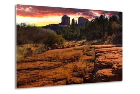 Sunset Image of Cathedral Rock.-diro-Metal Print