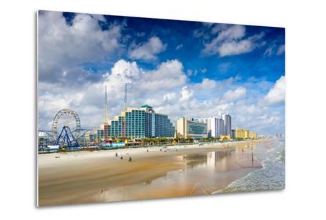 Daytona Beach, Florida, USA Beachfront Skyline.-SeanPavonePhoto-Metal Print