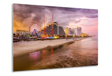 Daytona Beach, Florida, USA Beachfront Skyline.-SeanPavonePhoto-Metal Print