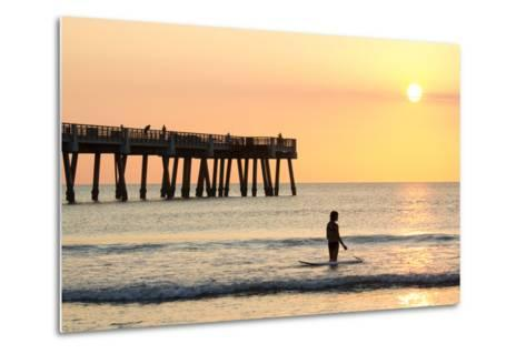 Early Morning at the Pier in Jacksonville Beach, Florida.-RobWilson-Metal Print