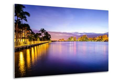 West Palm Beach Florida, USA Cityscape on the Intracoastal Waterway.-SeanPavonePhoto-Metal Print