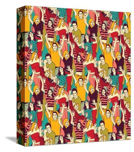 Crowd Active Happy People Seamless Color Pattern-Karrr-Stretched Canvas Print