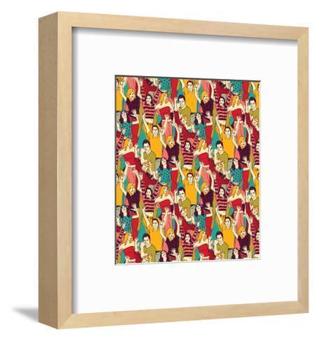 Crowd Active Happy People Seamless Color Pattern-Karrr-Framed Art Print