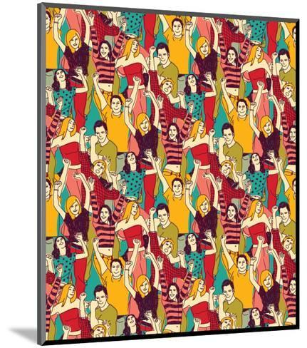 Crowd Active Happy People Seamless Color Pattern-Karrr-Mounted Art Print