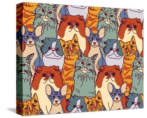 Cats Pets Animal Group Color Seamless Pattern-Karrr-Stretched Canvas Print